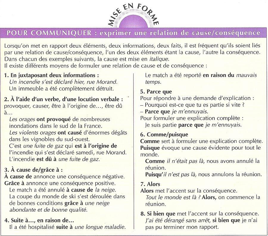 Introduction de la cause et de la conséquence (Professeur ...